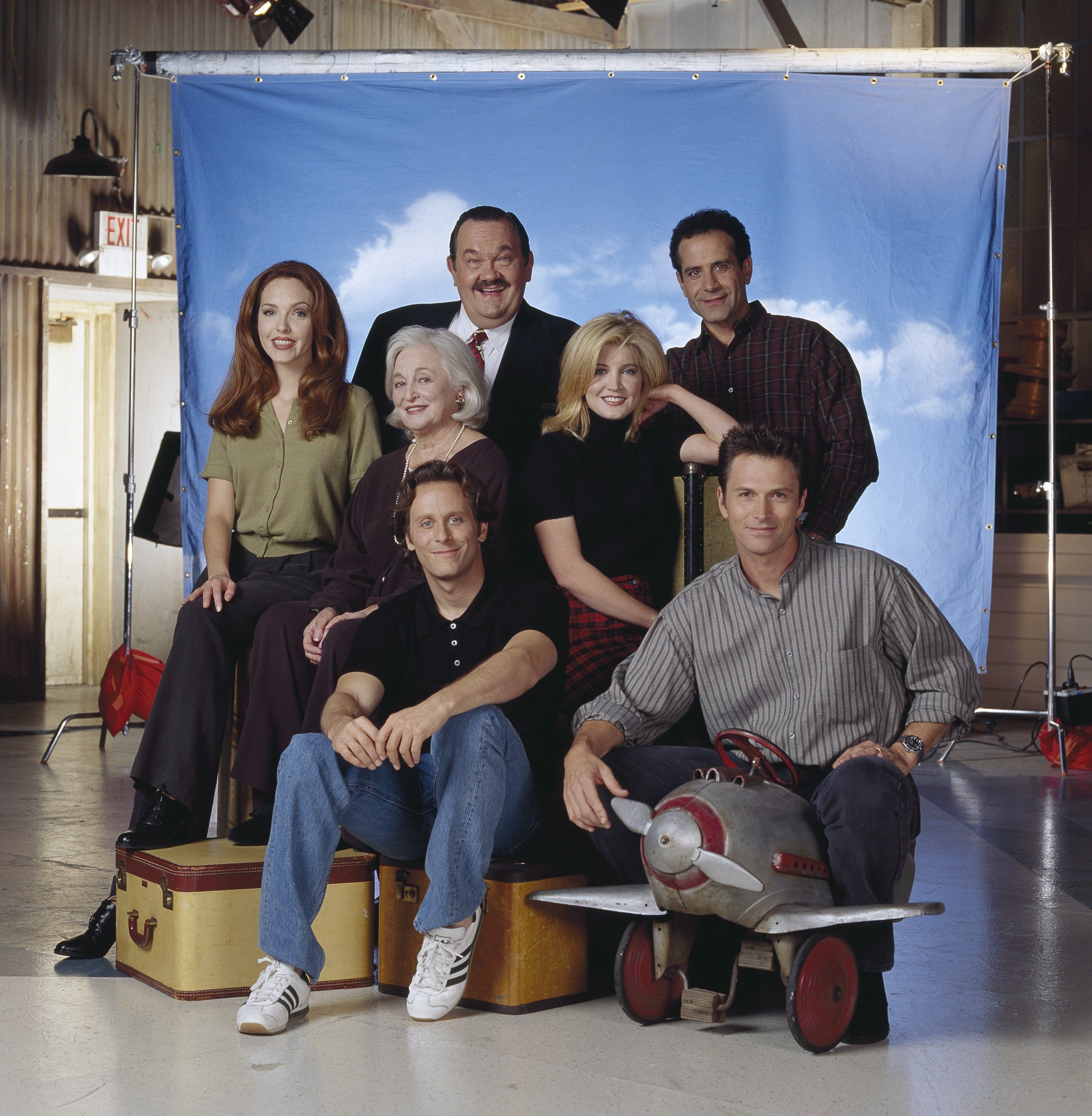 "David Schramm, Tony Shalhoub, (center, l-r) Amy Yasbeck, Rebecca Schull, Crystal Bernard, (front, l-r) Steven Weber, Timothy Daly on ""Wings,"" October 27, 2006 