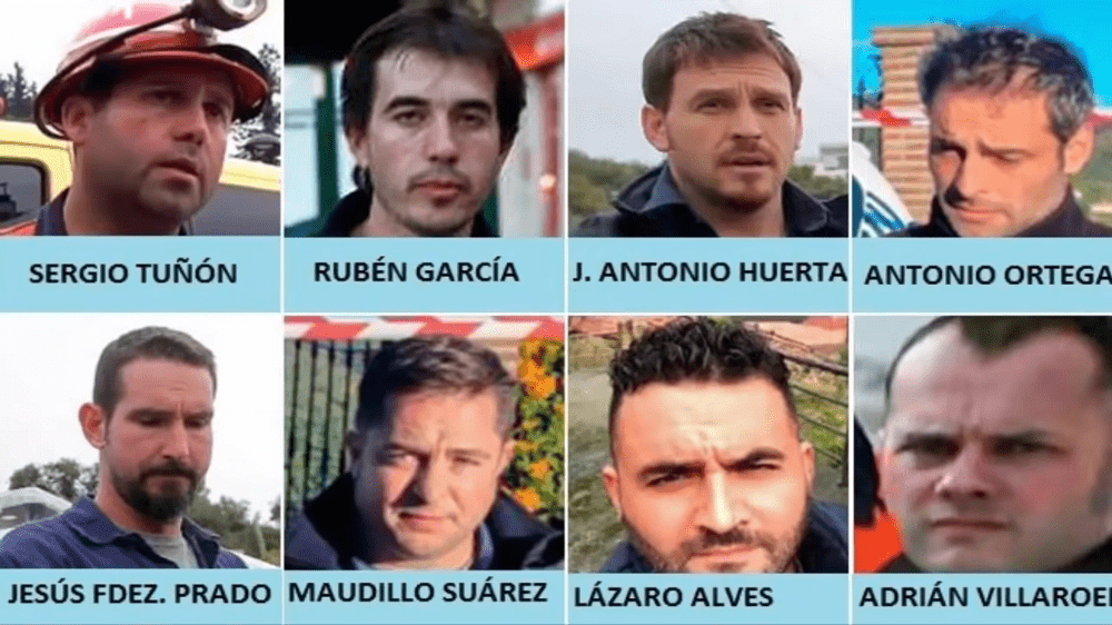Los ocho mineros que realizaron el rescate del cuerpo de Julen. | Imagen: YouTube/Videos Virales