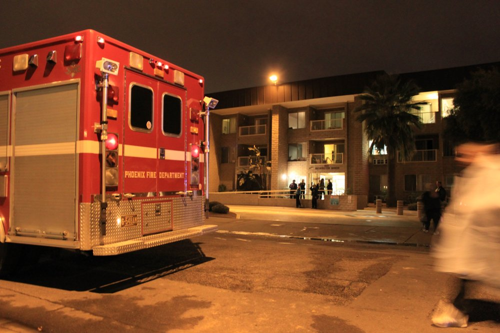 Phoenix Fire Department trucks and other vehicles respond to a scene on January 30, 2011   Photo: Shutterstock