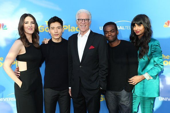 """D'Arcy Carden, Manny Jacinto, Ted Danson, William Jackson Harper, and Jameela Jamil attend the FYC event for NBC's """"The Good Place"""" at Saban Media Center on June 07, 2019, in North Hollywood, California. 
