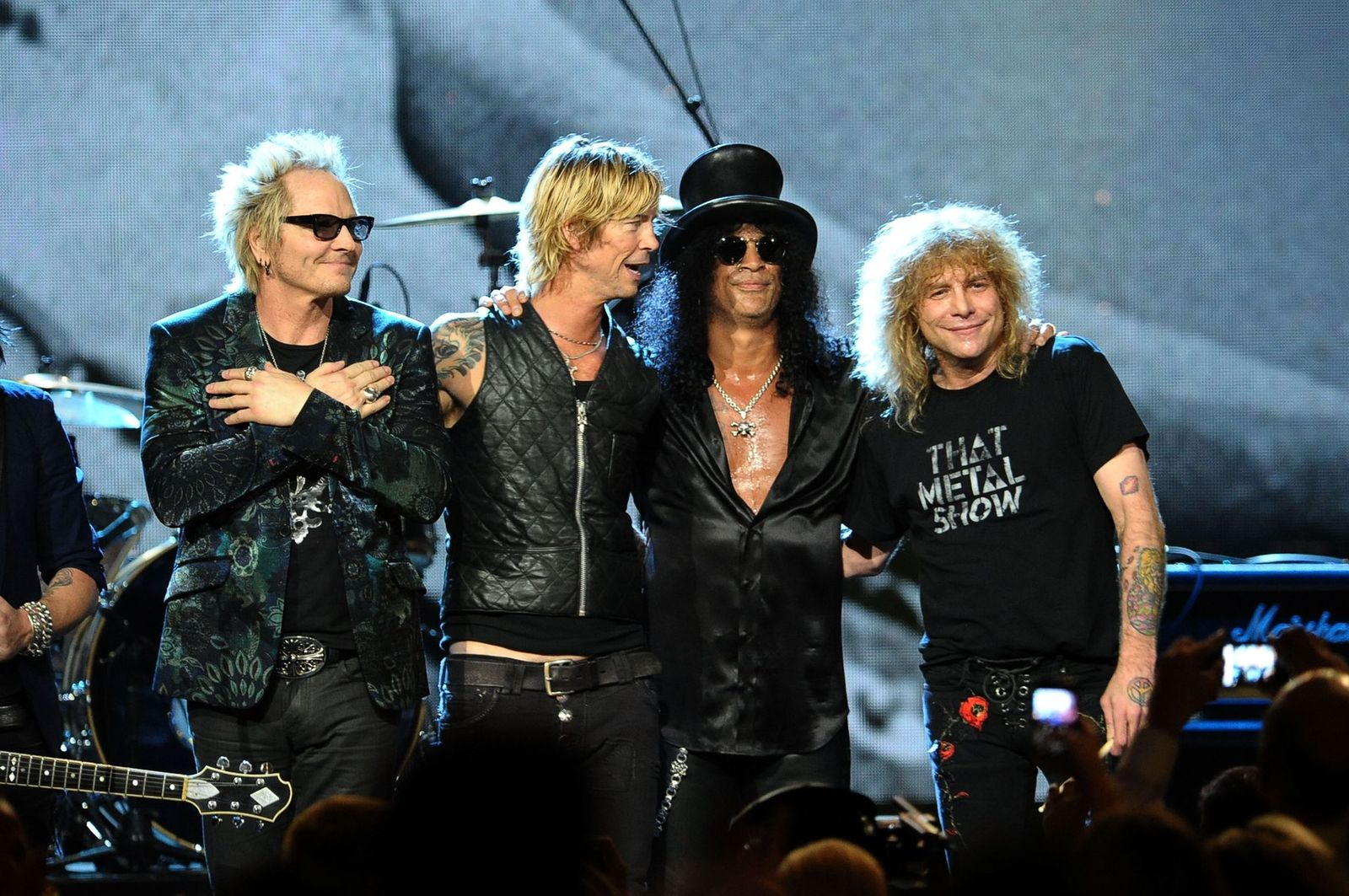 Matt Sorum, Duff McKagan, Slash and Steven Adler of Guns N' Roses, perform onstage during the 27th Annual Rock And Roll Hall of Fame Induction Ceremony on April 14, 2012 | Photo: Getty Images