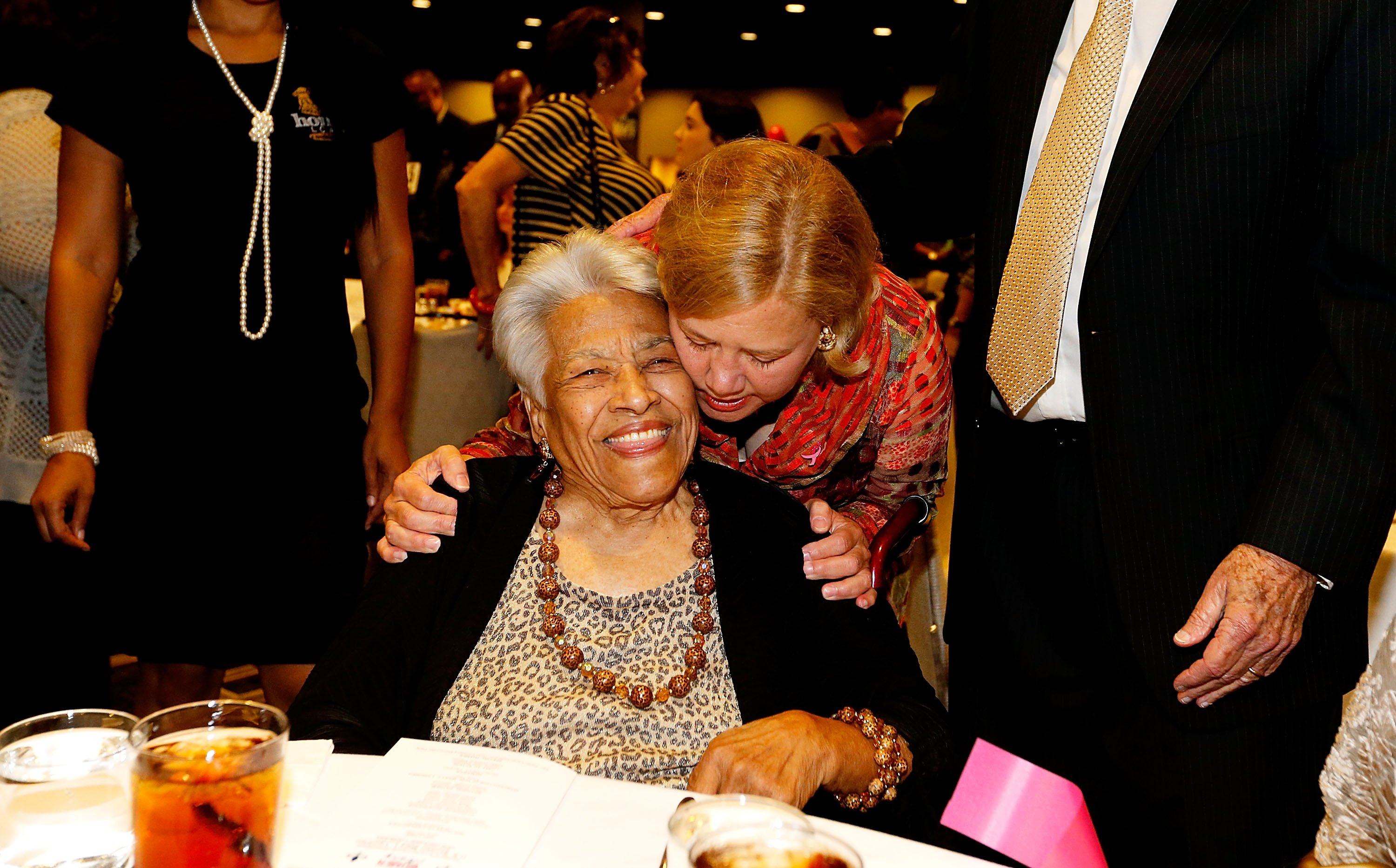 """Leah Chase being hugged by U.S. Senator Mary Landrieu at a """"Women with Mary"""" campaign event in New Orleans, Louisiana 