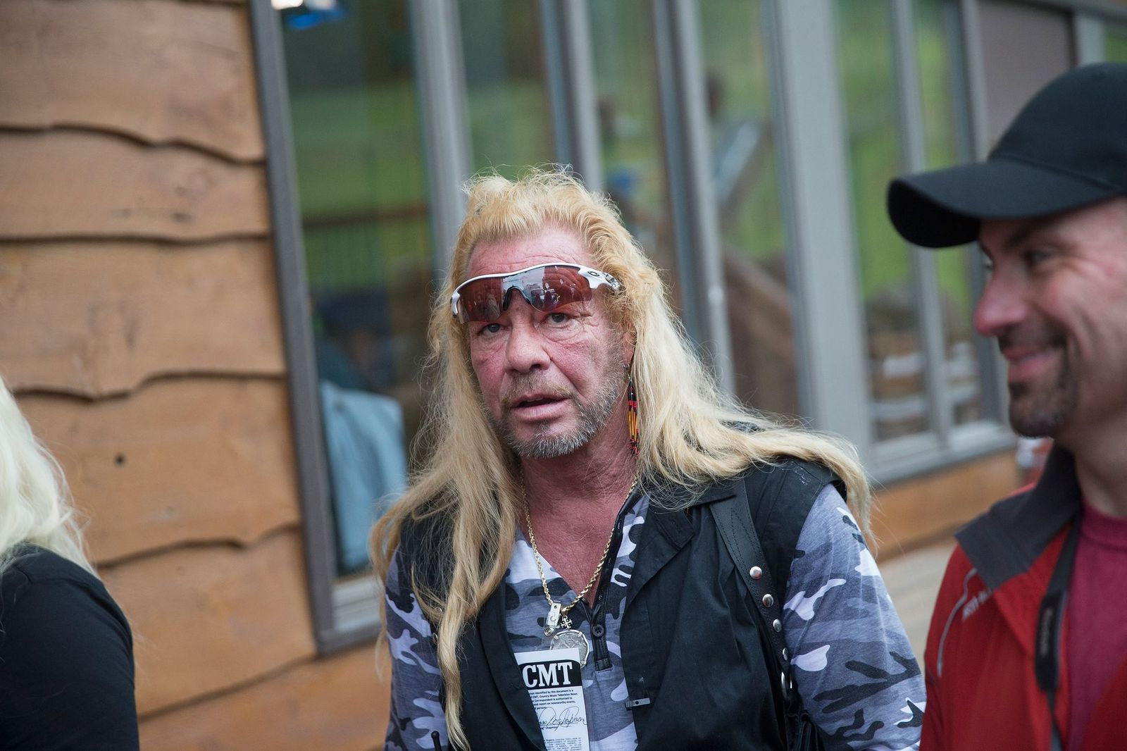 """Duane Chapman films a segment of """"Dog the Bounty Hunter""""outside of a news conference on June 28, 2015, in Malone, New York 