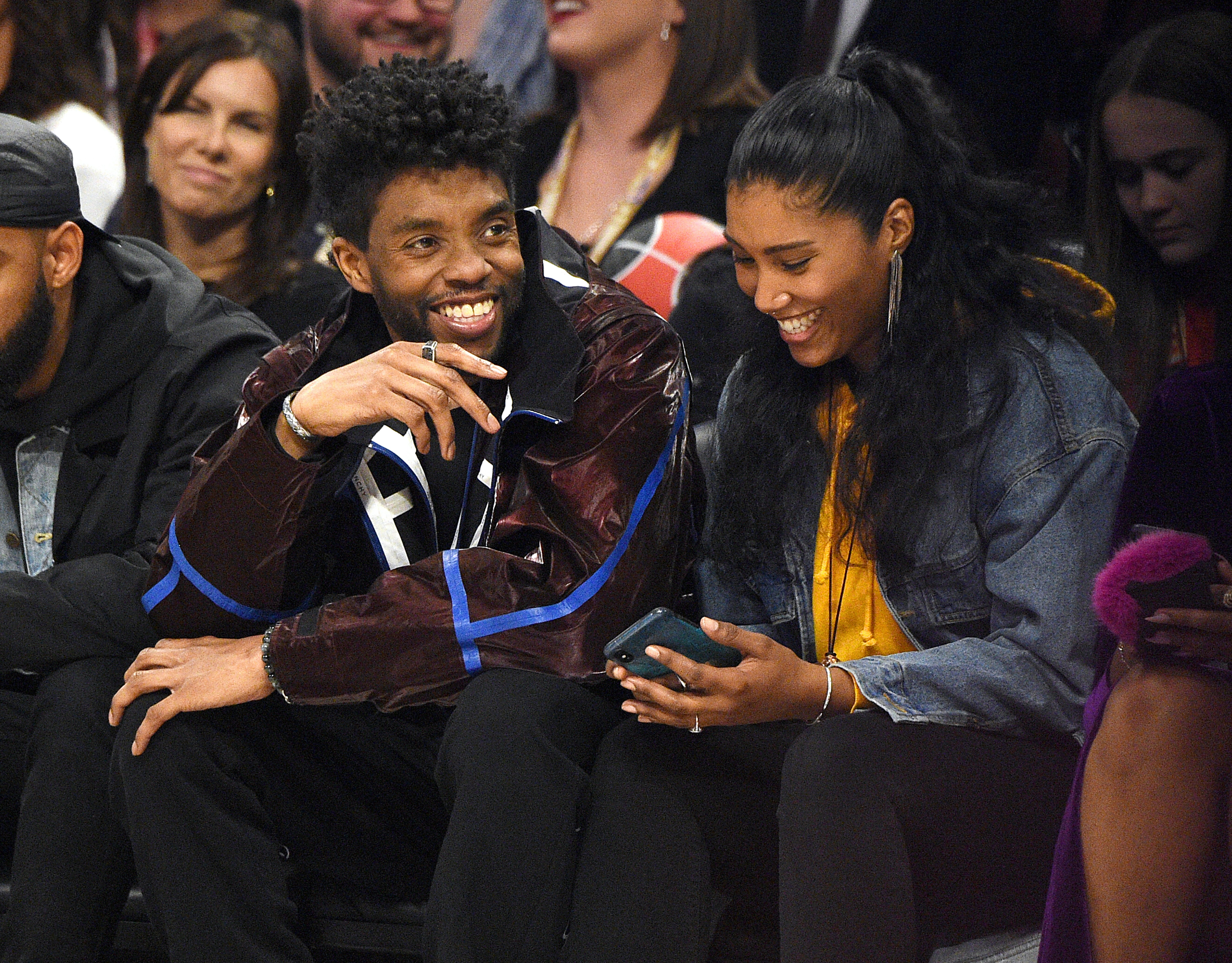 Chadwick Boseman and Taylor Simone Ledward at the 69th NBA All-Star Game at United Center on February 16, 2020 in Chicago, Illinois | Source: Getty Images