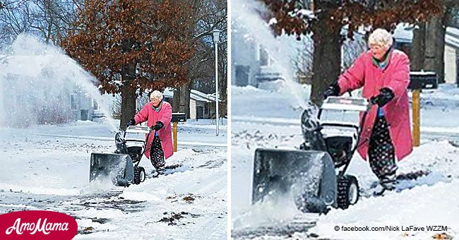 Michigan grandma in pink coat, 82, goes viral for snowblowing her driveway in the freezing cold