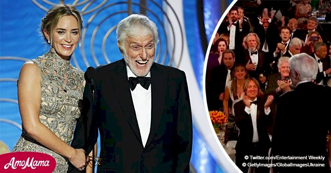 Dick Van Dyke received a standing ovation as he joked at Golden Globes in a chic suit