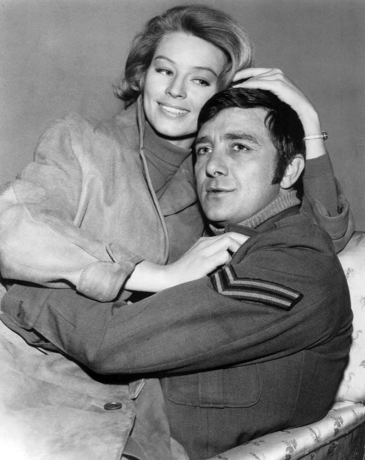 "Photo of Richard Dawson as Newkirk with Ulla Stromstedt from the television program ""Hogan's Heroes,"" circa 1960s. 