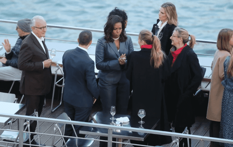 Former First Lady Michelle Obama on the Ducasse Sur Seine while the Notre Dame Cathedral was on fire | Photo :TMZ