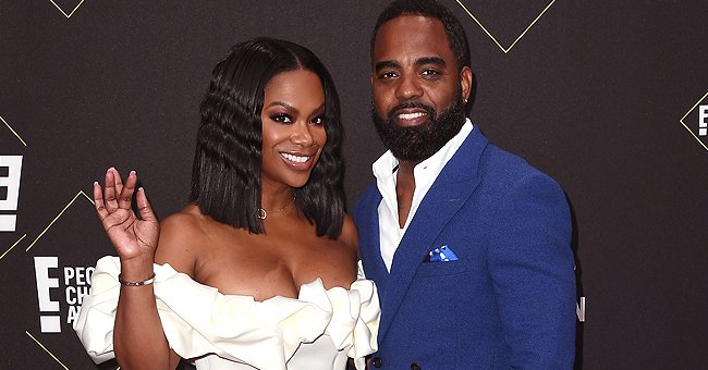 Kandi Burruss from RHOA Flaunts Curvaceous Figure in White Off-Shoulder Mini Dress in Pics with Husband Todd at the 2019 PCAs