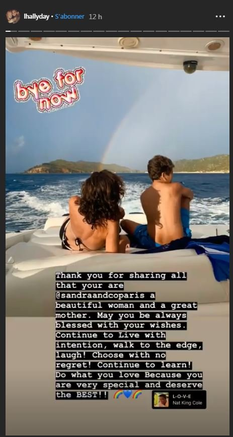 Un message touchant de Laeticia à Sandra | Source: la story d'Instagram de Laeticia Hallyday