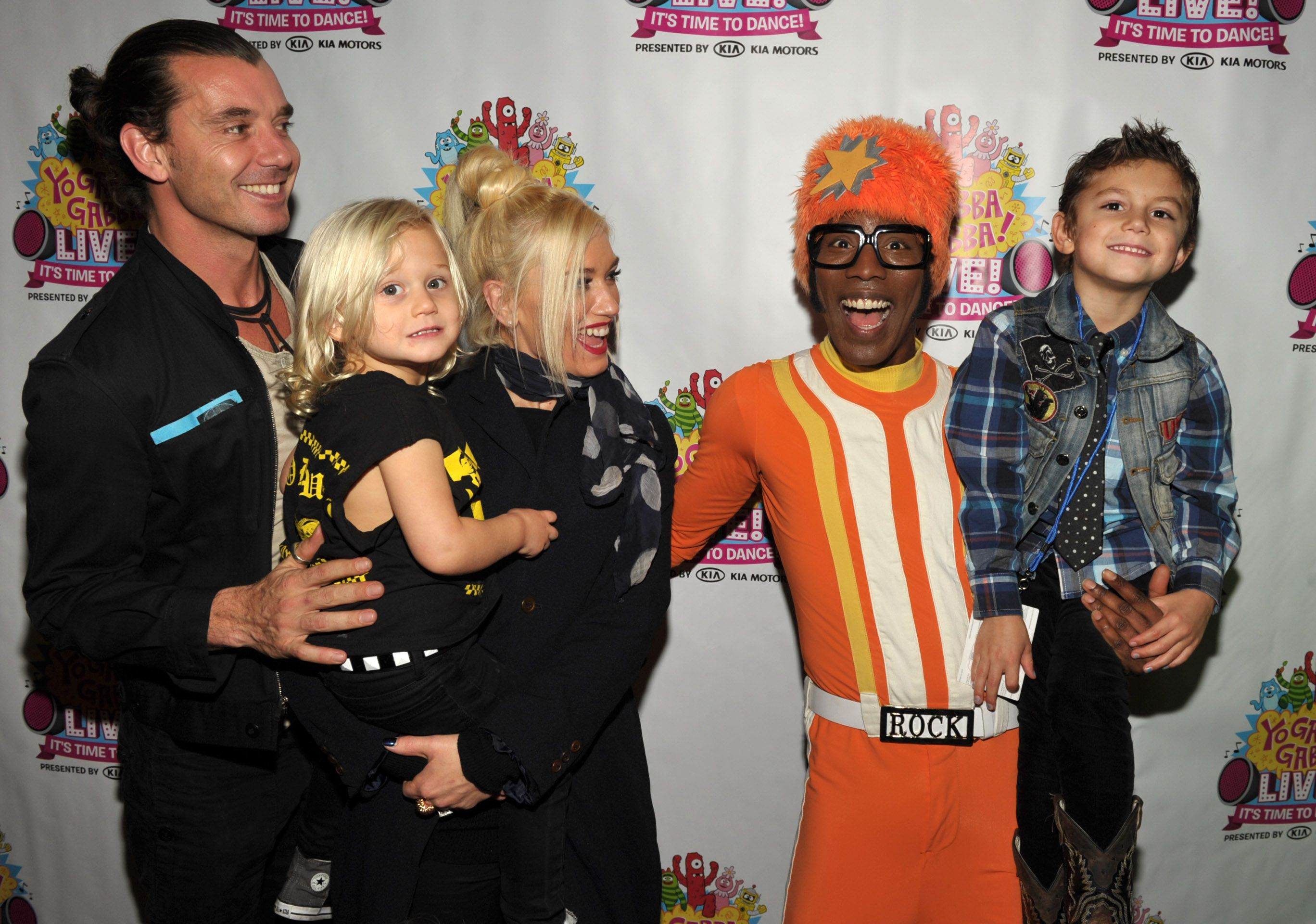 "Gavin Rossdale, with Gwen Stefani, their sons Zuma and Kingston, and  DJ Lance Rock,backstage at ""Yo Gabba Gabba Live!"" in 2011 in Los Angeles 