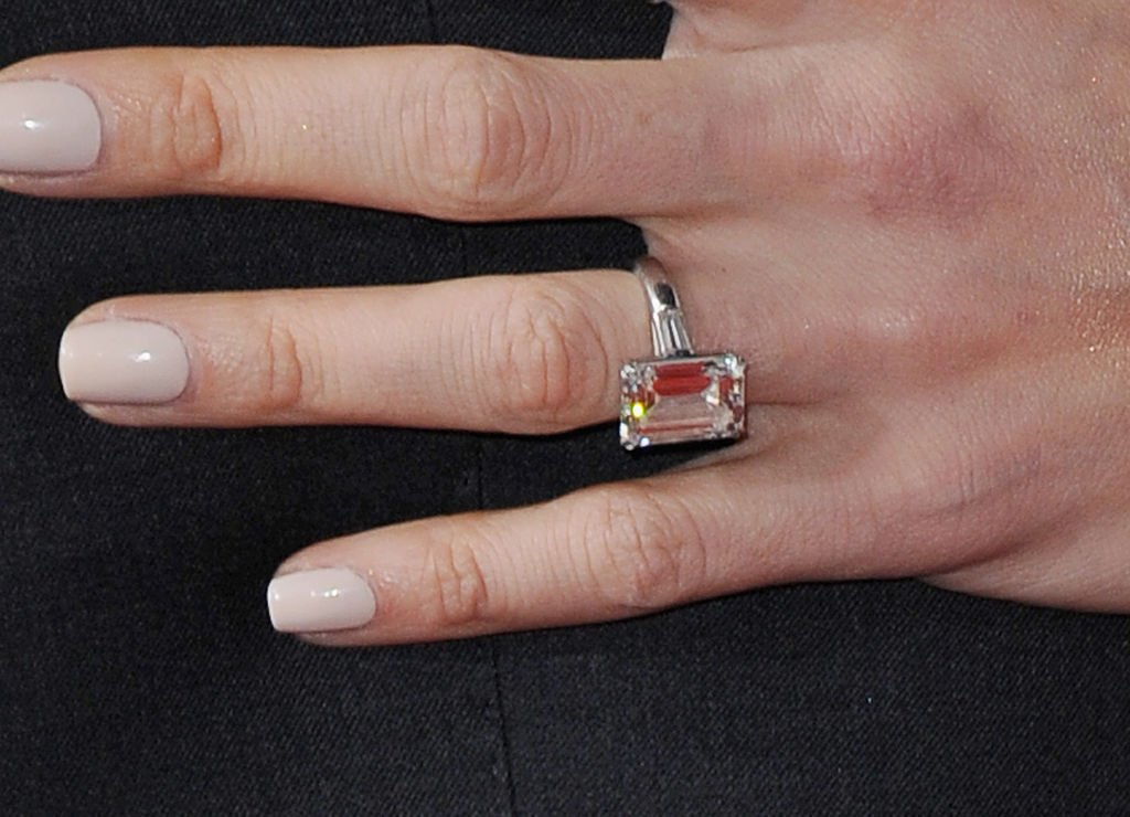 """A close-up of Amal Clooney's engagement ring during the Los Angeles Premiere """"Hail, Caesar!"""" at Regency Village Theater, 2016, California. 