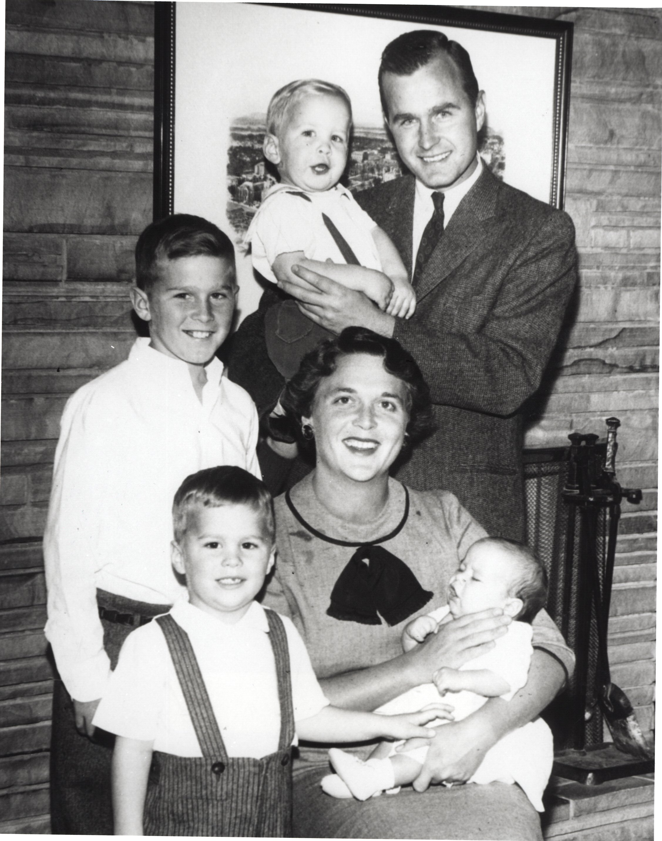 The 41st President of United States of America George H. B .Bush, his wife Barbara and their sons   Source: Getty Images