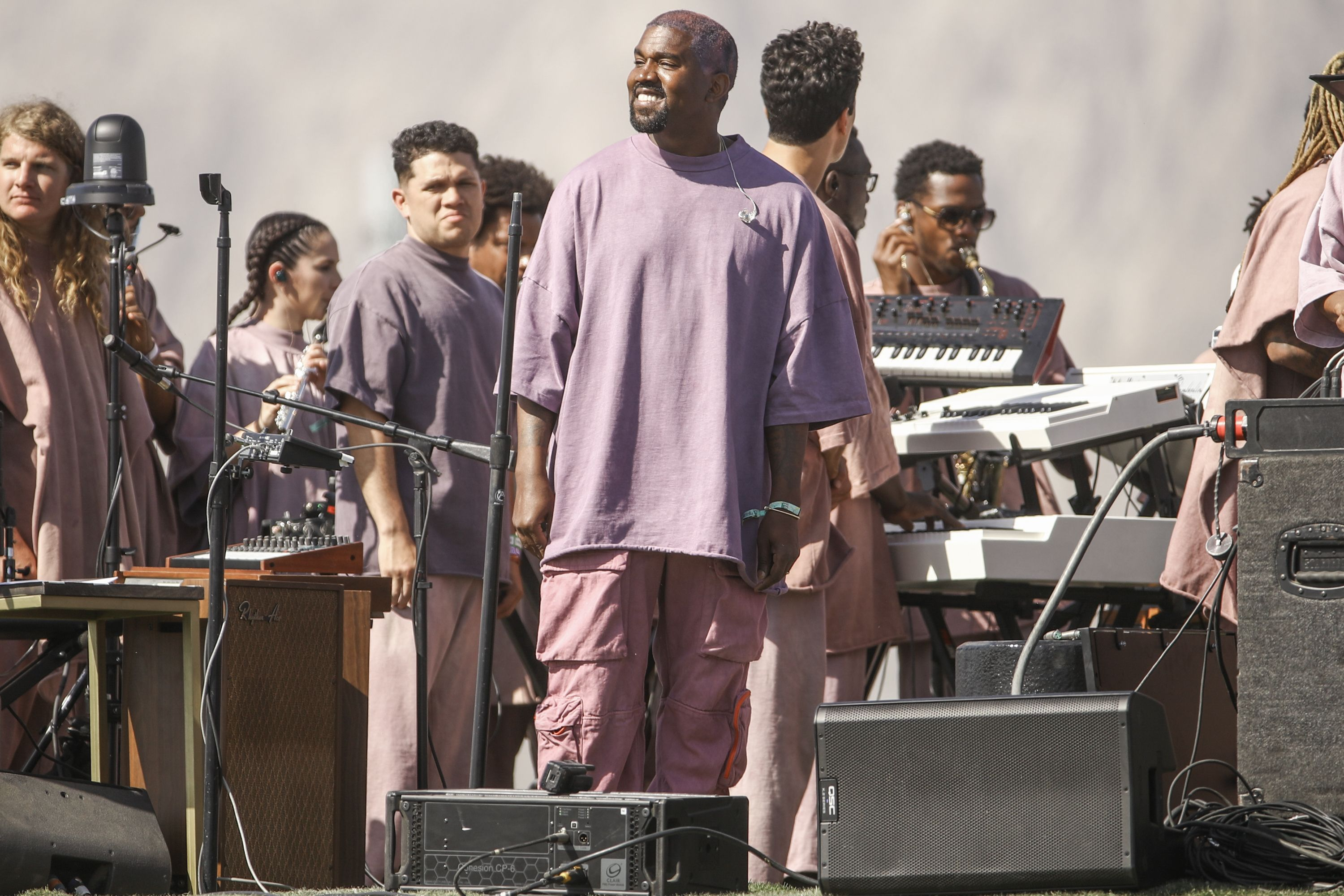 Kanye West performs Sunday Service during the 2019 Coachella Valley Music And Arts Festival on April 21, 2019 in Indio, California. | Source: Getty Images