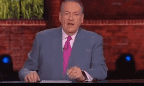 "Mike Huckabee announcing about the ""Hee Haw"" reunion sketch to his audience on the ""Huckabee Show."" 