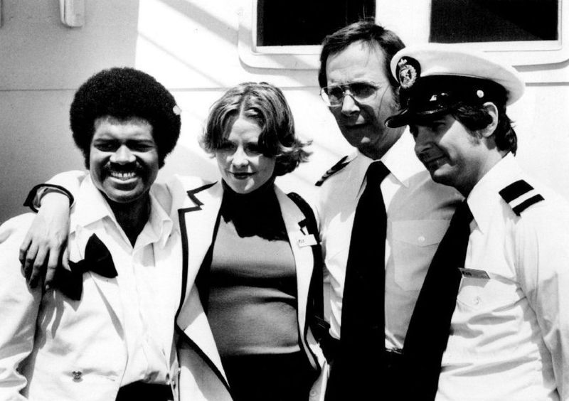 """Ted Lange, Lauren Tewes, Bernie Kopell, and Fred Grandy on """"The Love Boat."""" 