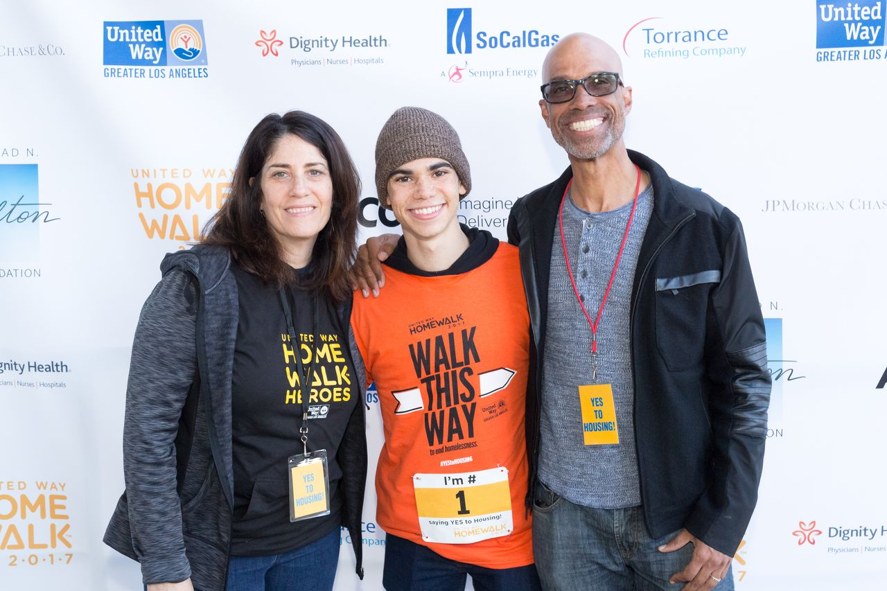 Actor Cameron Boyce, with parents Libby and Victor Boyce at the United Way 11th Annual HomeWalk To End Homelessness/ Source: Getty Images