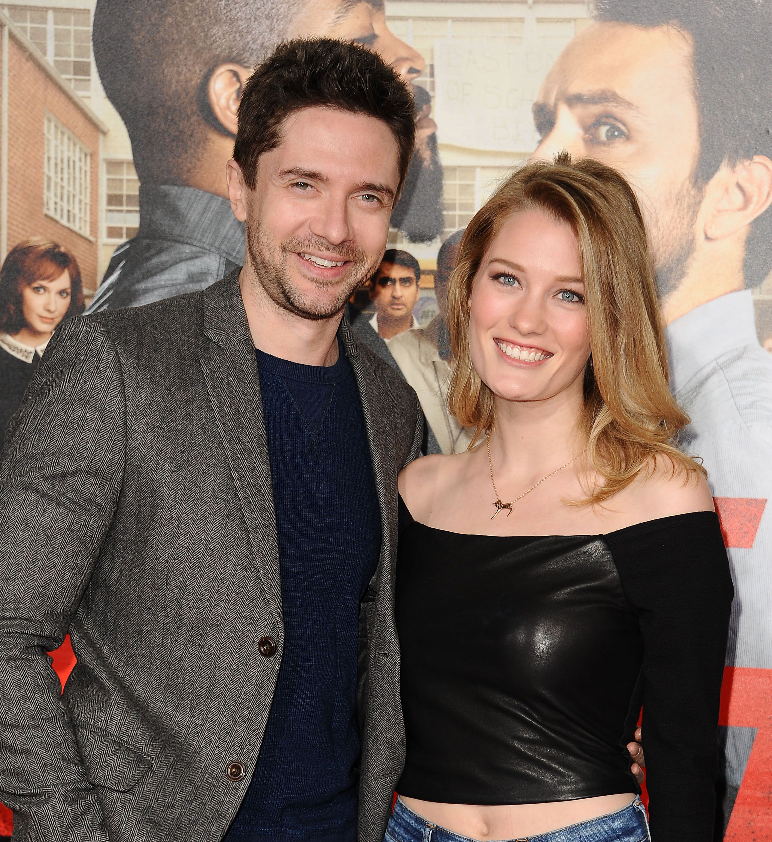"""Topher Grace and Ashley Hinshaw during the premiere of """"Fist Fight"""" at Regency Village Theatre on February 13, 2017 in Westwood, California. 