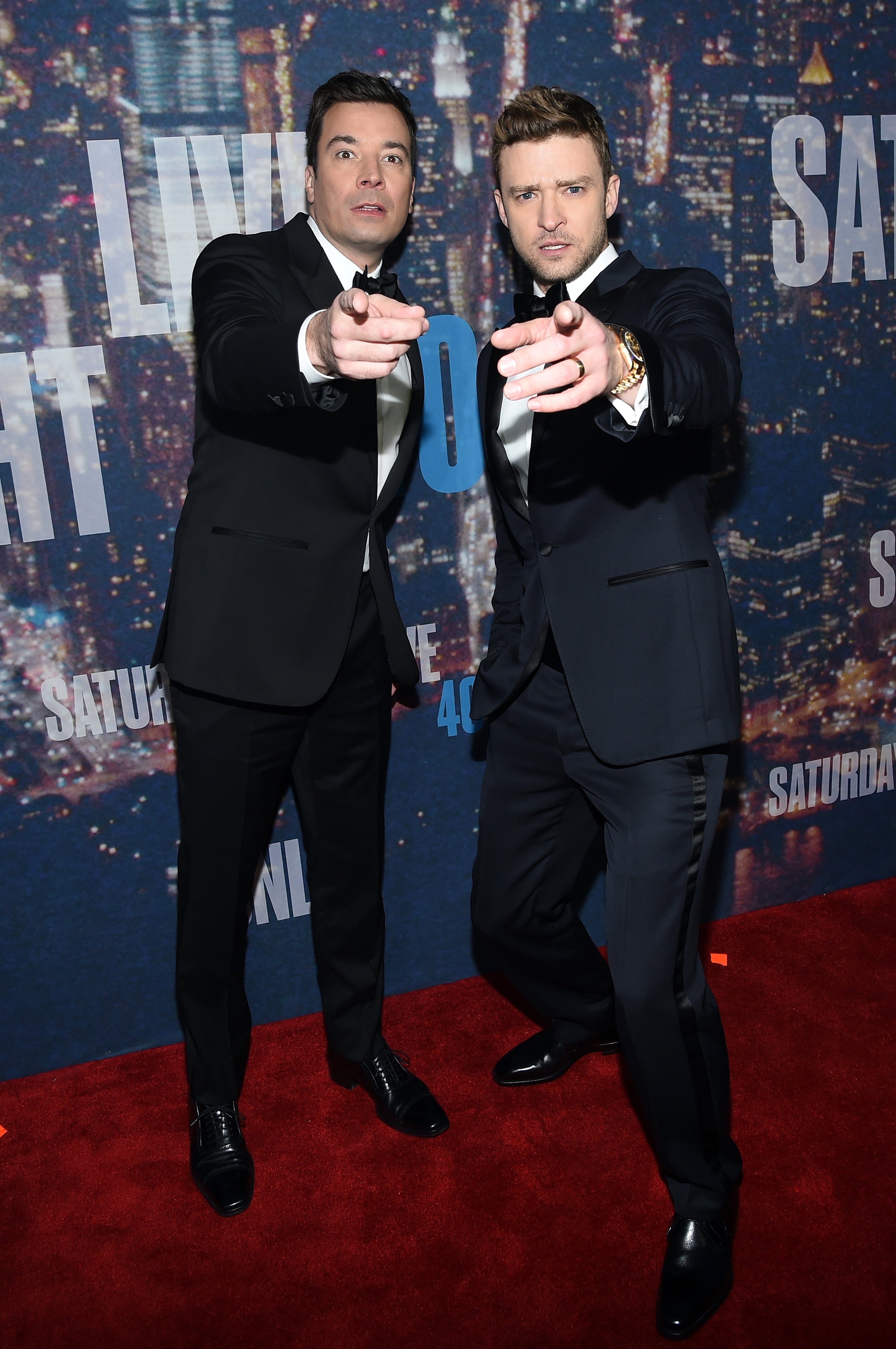 Jimmy Fallon (L) and Justin Timberlake attend SNL 40th Anniversary Celebration at Rockefeller Plaza on February 15, 2015 in New York City | Photo: Getty Images
