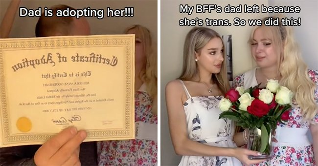 A girl gives flowers to her trans best friend just before her father symbolically adopts her friend and shows off the symbolic certificate   Photo: TikTok/grace.hylandd