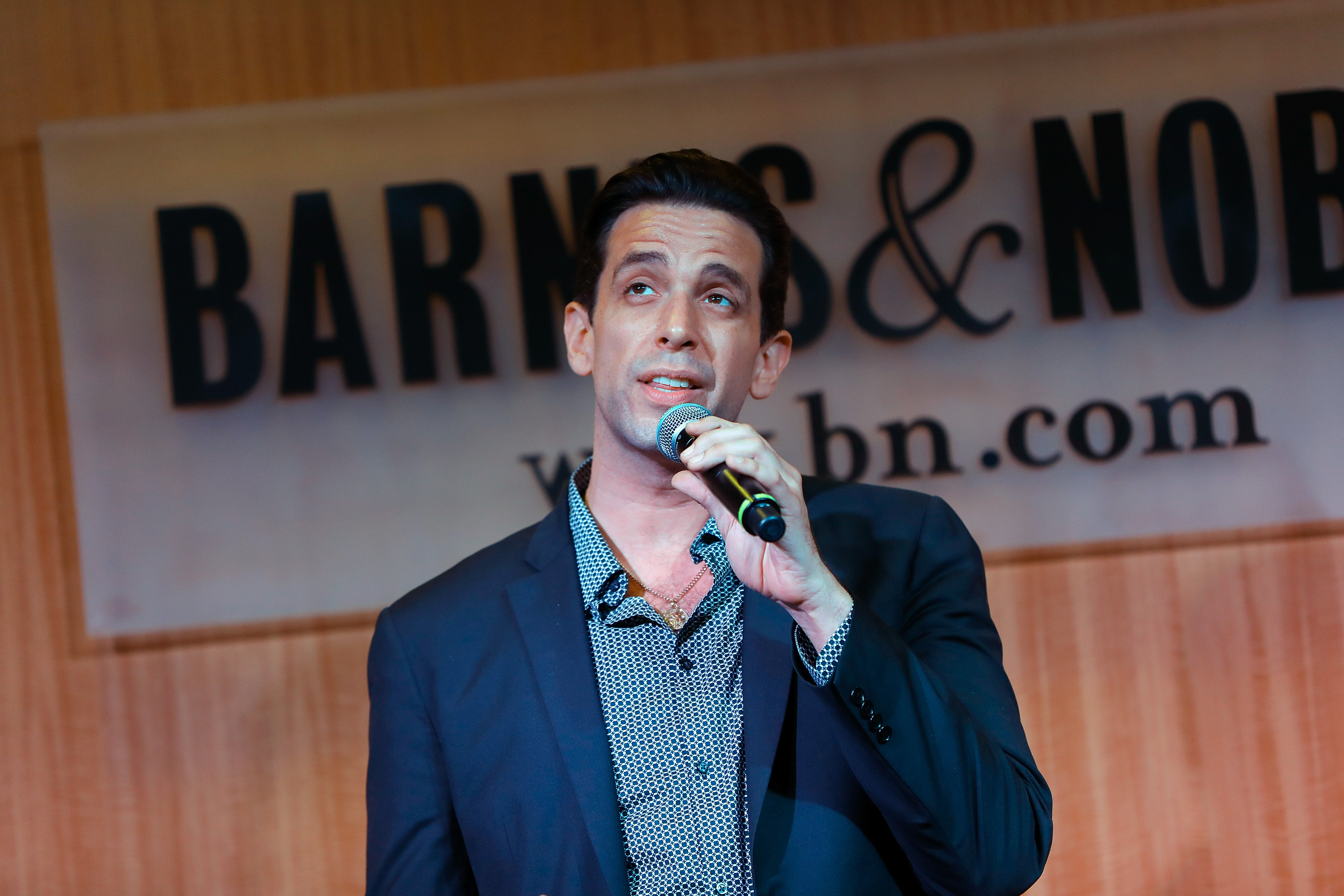 "Broadway actor Nick Cordero performs a soundtrack from the Broadway show ""A Bronx Tale"" in Barnes & Nobles in New York in 2018. 