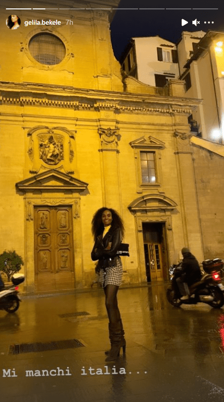 Gelila Bekele's Instagram Story photo of herself in a stunning outfit while in Italy. | Photo: instagram.com/gelila.bekele