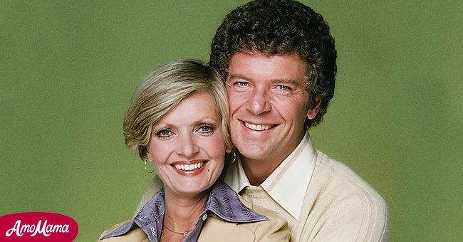 """Richard Reed and Florence Henderson on the set of """"The Brady Bunch"""" 