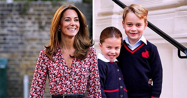 La princess Charlotte et le prince George souriant sur une photo prise avant d'aller à l'école