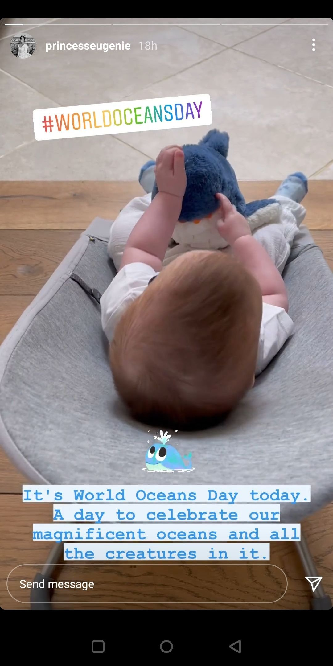 Princess Eugenie's son, August, cuddling a fluffy toy shark for World Oceans Day, 2021, London, England.   Photo: Instagram/princeseugenie