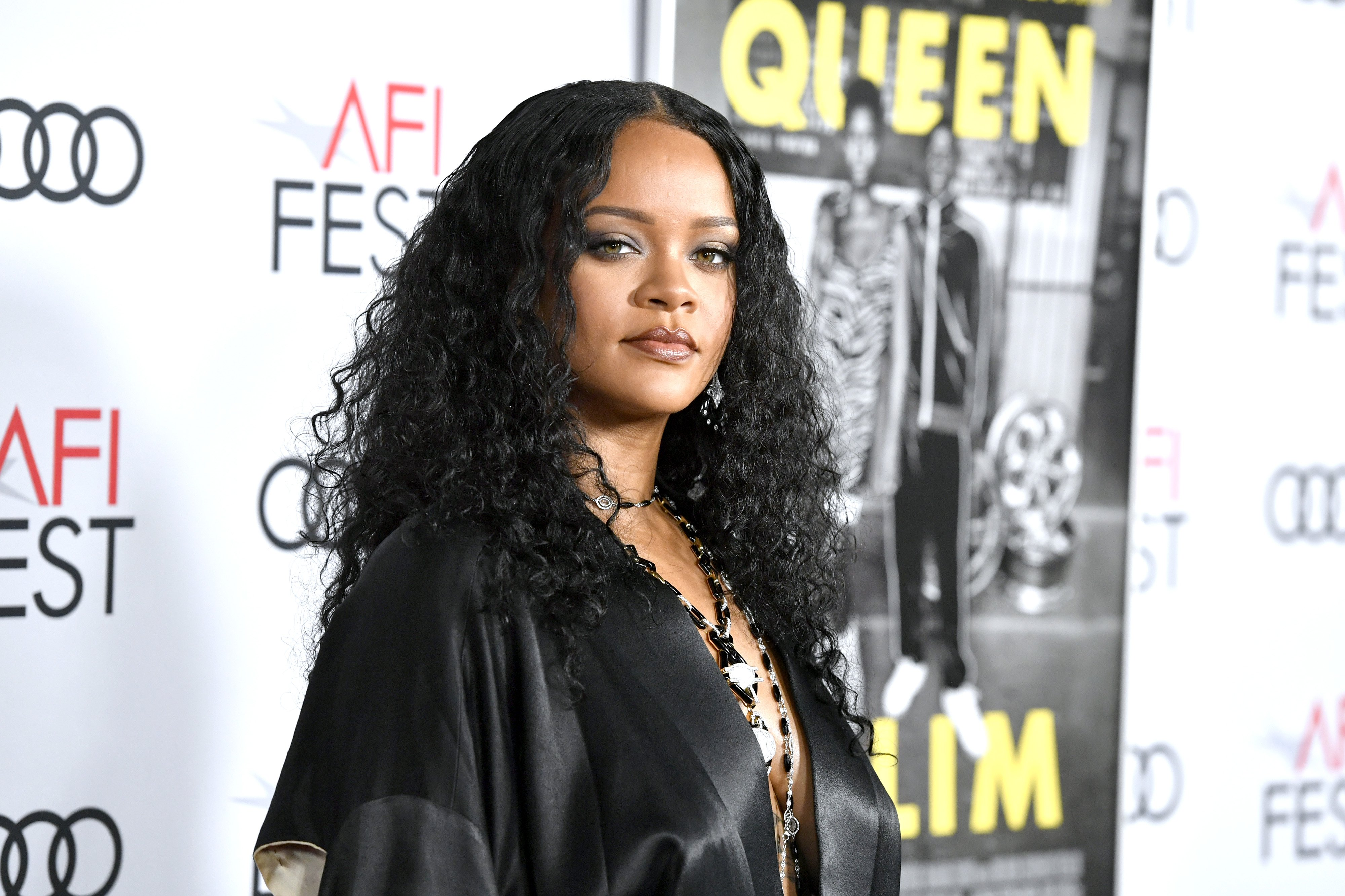 "Rihanna at the ""Queen & Slim"" premiere in November 2019. 