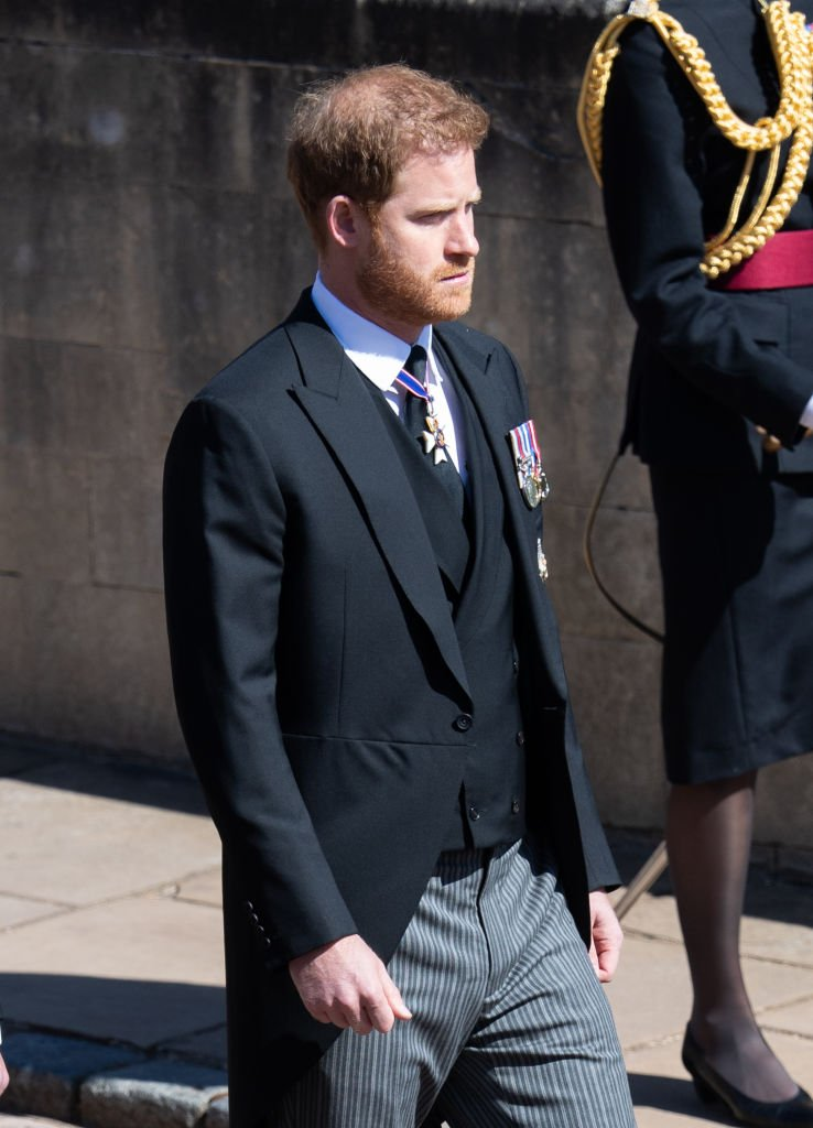 Le prince Harry aux funérailles du prince Philip | photo : Getty Images