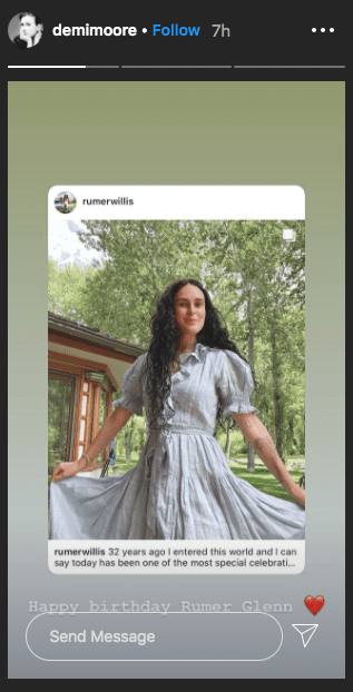 A picture of Rumi Glenn in a free-flowing dress posted on Demi Moore's Instagram Story. | Photo: Instagram/@demimoore